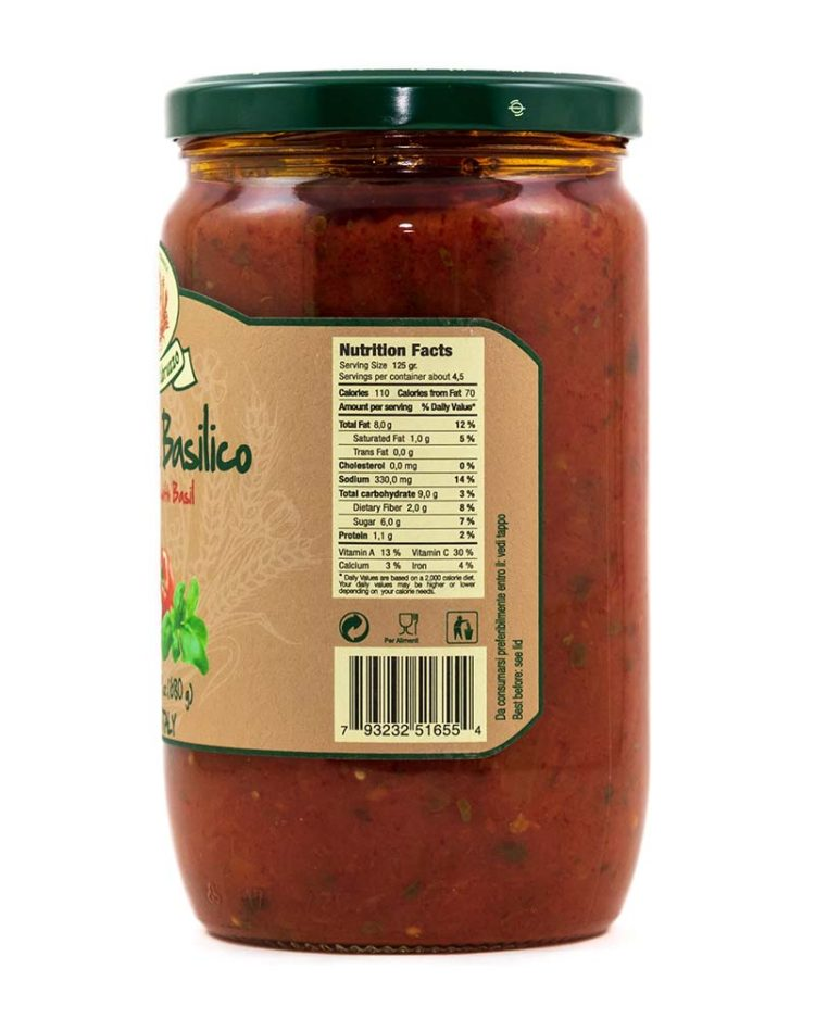 Family Size Tomato Sauce with Basil-sideb